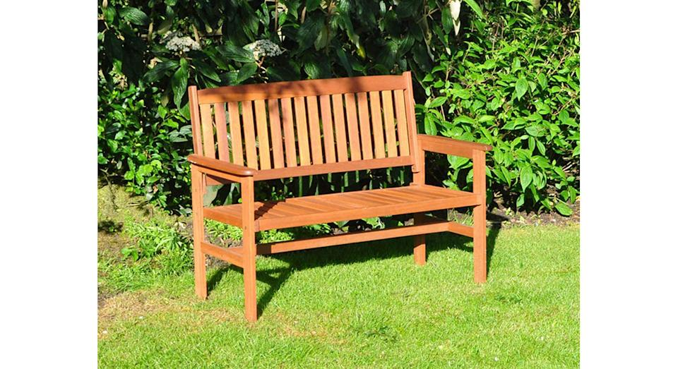 Kingfisher 2-Seater Hardwood Garden Patio Bench (Amazon)