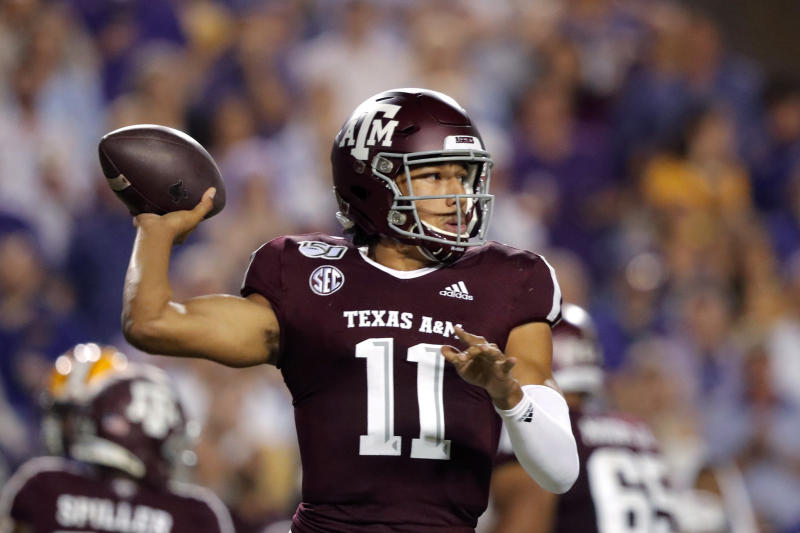 Texas A&M quarterback Kellen Mond (11) throws a pass during the first half of the team's NCAA college football game against LSU in Baton Rouge, La., Saturday, Nov. 30, 2019. (AP Photo/Gerald Herbert)