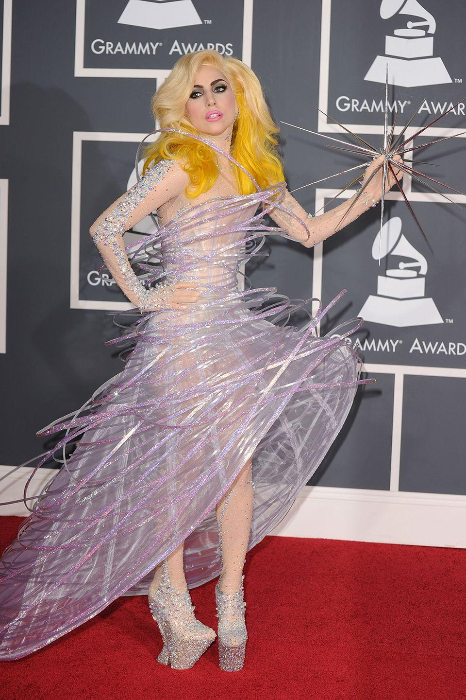 <p>Between the spikes and the shoes, Gaga should have won an award just for making it down the red carpet without impaling herself. </p>