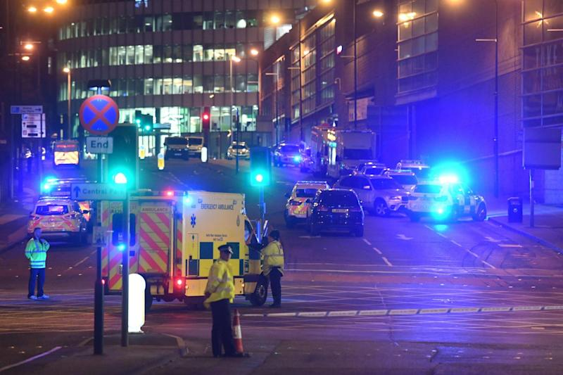 Emergency response vehicles at the scene of the Manchester Arena attack in 2017: AFP/Getty Images