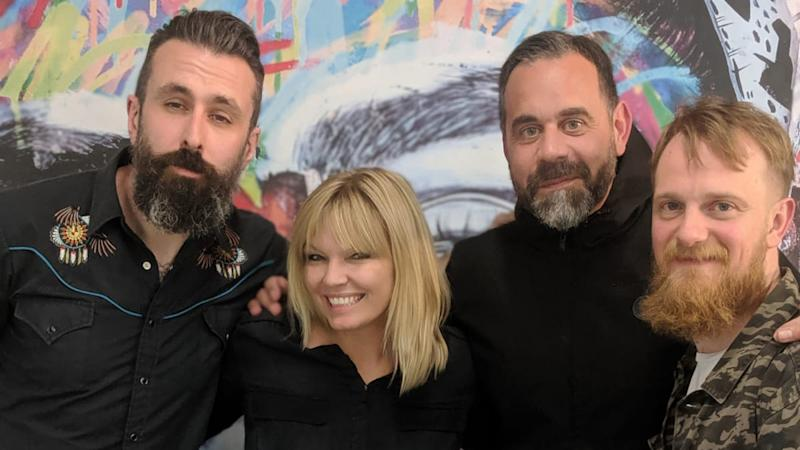 Stu Whiffen and Chris Glasson (R) share their love of open water swimming with Kate Thornton on this week's episode of White Wine Question Time, which also features Scroobius Pip (L).