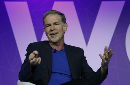 Netflix's Chief Executive Officer Reed Hastings gestures as he delivers his keynote speech during Mobile World Congress in Barcelona, Spain, February 27, 2017. REUTERS/Paul Hanna