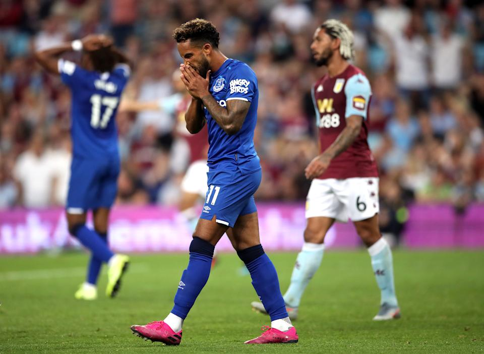 Everton's Theo Walcott reacts after a missed chance during the Premier League match at Villa Park, Birmingham. (Photo by Nick Potts/PA Images via Getty Images)