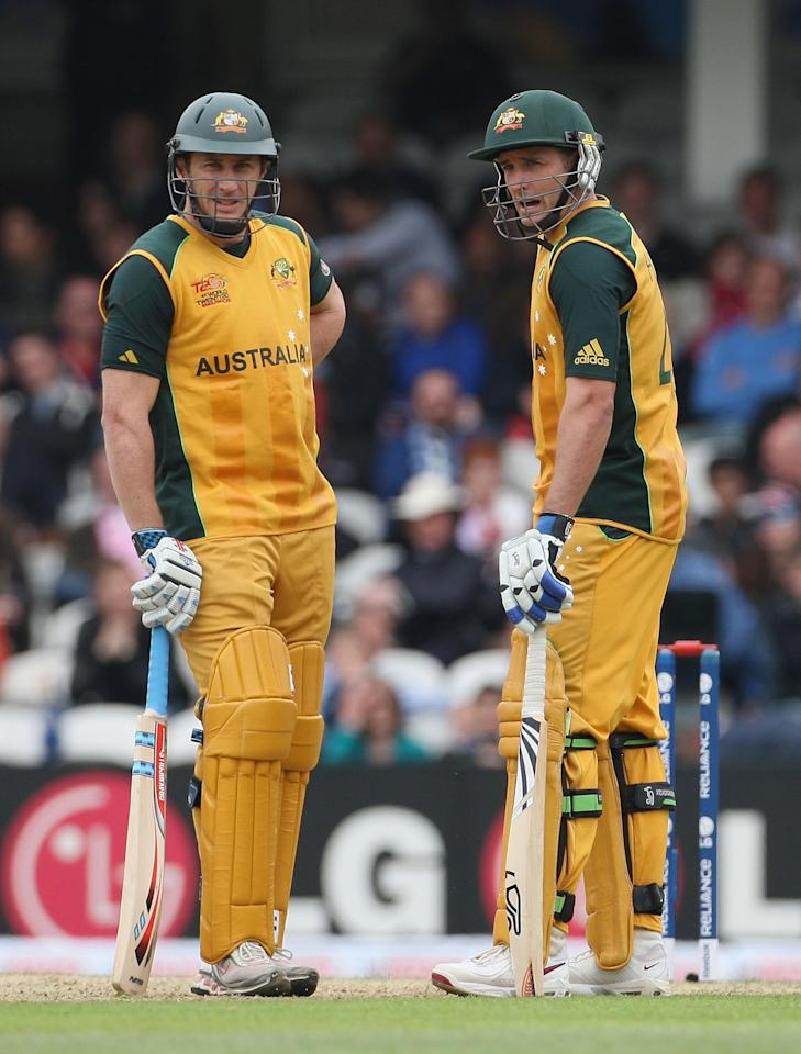 LONDON, ENGLAND - JUNE 06:  David Hussey (L) and Michael Hussey of Australia look on during the ICC Twenty20 World Cup match between Australia and West Indies at The Brit Oval on June 6, 2009 in London, England.  (Photo by Hamish Blair/Getty Images)