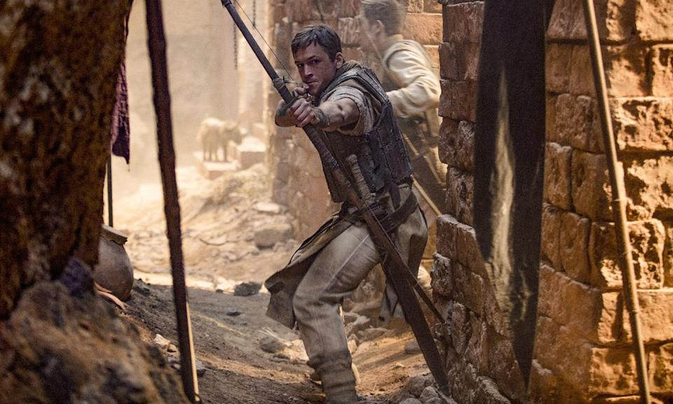 Robin Hood (Taron Egerton) a war-hardened Crusader and his Moorish commander (Jamie Foxx) mount an audacious revolt against the corrupt English crown in an action-adventure that promises gritty battlefield exploits, fight choreography, and romance.