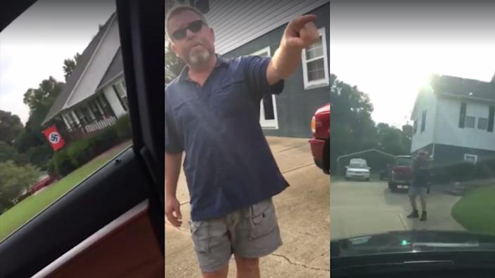 A North Carolina woman confronted a man over his Nazi flag display. (Image: Page Braswell/Facebook)