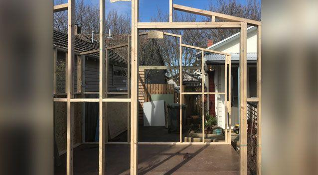 The build began to take shape in the backyard of Charlotte's grandfather. Source: Charlotte Sapwell