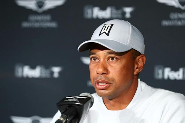 Tournament host Tiger Woods speaks during a press conference prior to the US PGA Tour Genesis Invitational at Riviera Country Club (AFP Photo/Joe Scarnici)