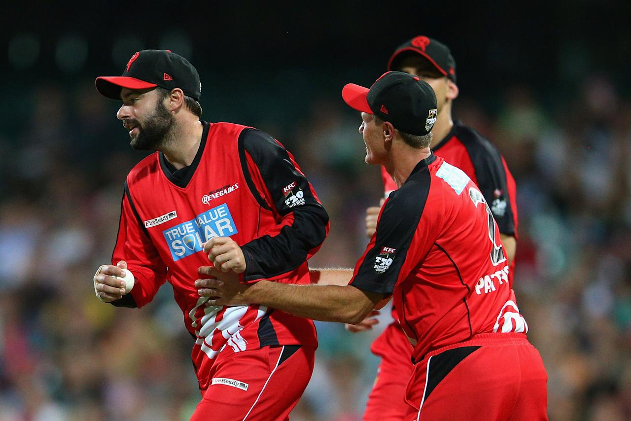 SYDNEY, AUSTRALIA - JANUARY 09:  Alex Doolan of the Renegades celebrates catching out Michael Lumb of the Sixers off a delivery by team mate Will Sheridan during the Big Bash League match between the Sydney Sixers and the Melbourne Renegades at SCG on January 9, 2013 in Sydney, Australia.  (Photo by Cameron Spencer/Getty Images)