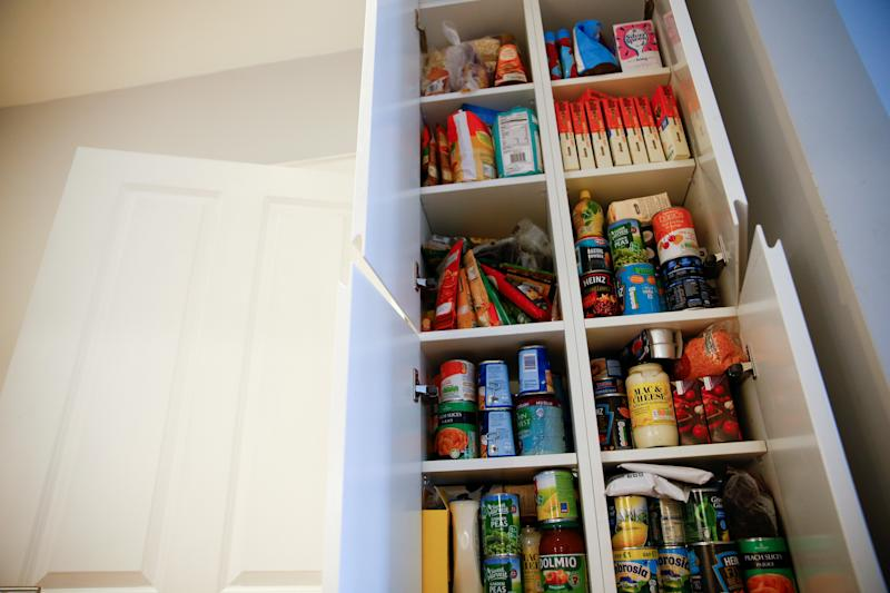 Food supplies stored by Jo Elgarf for her daughter Nora are seen at their home in London, Britain, January 30, 2019. Picture taken January 30, 2019. REUTERS/Henry Nicholls