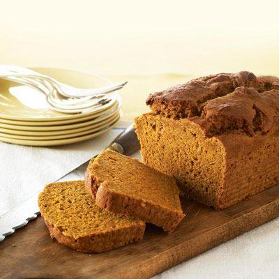 """<p>This lighter loaf uses egg whites and yogurt to create a light, tangy loaf that's still packed with fall flavor.</p><p><strong><a href=""""https://www.countryliving.com/food-drinks/recipes/a19056/healthy-pumpkin-bread-recipe/"""" rel=""""nofollow noopener"""" target=""""_blank"""" data-ylk=""""slk:Get the recipe"""" class=""""link rapid-noclick-resp"""">Get the recipe</a>.</strong> </p>"""