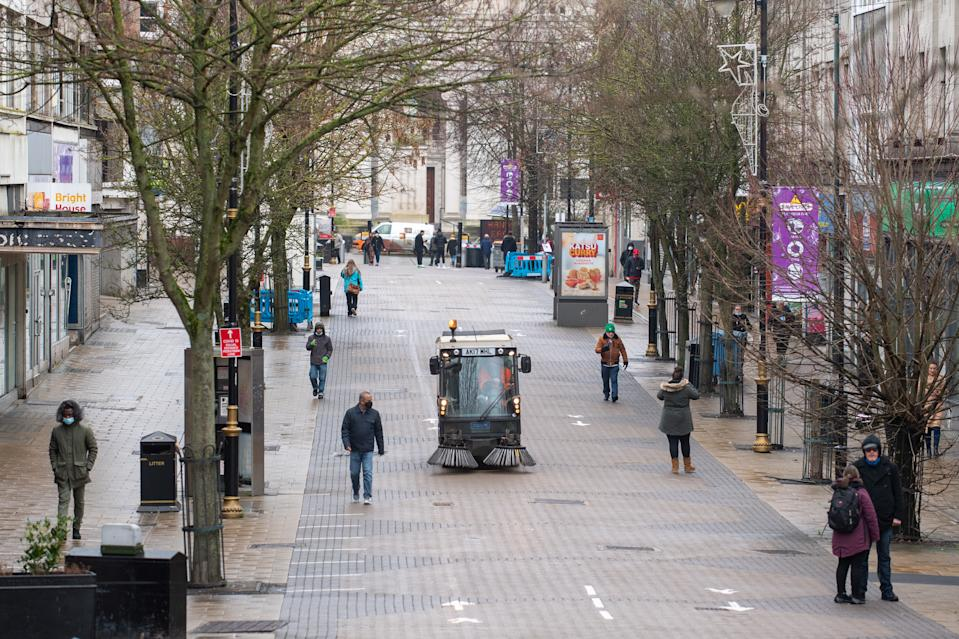 A deserted Luton town centre on Wednesday during Boris Johnson's third lockdown. (Joe Giddens/PA)