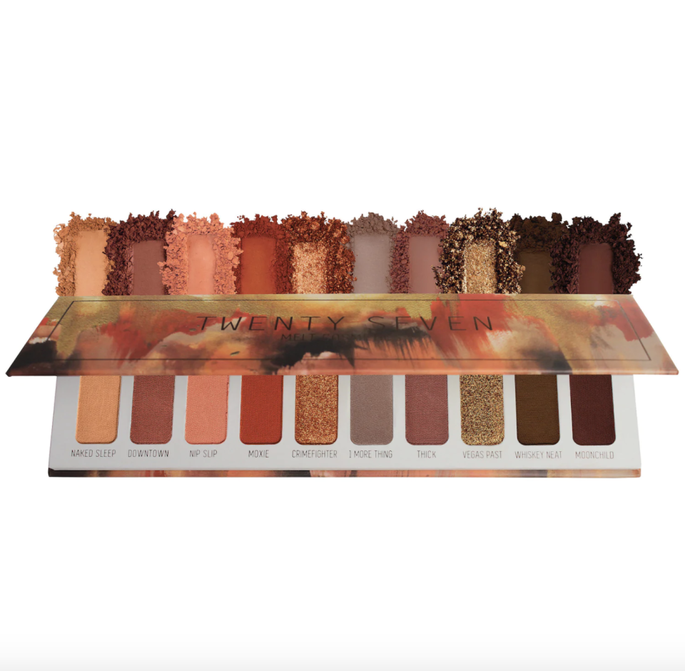 """<p><strong>Melt Cosmetics</strong></p><p>sephora.com</p><p><strong>$58.00</strong></p><p><a href=""""https://go.redirectingat.com?id=74968X1596630&url=https%3A%2F%2Fwww.sephora.com%2Fproduct%2Ftwenty-seven-palette-P444446&sref=https%3A%2F%2Fwww.goodhousekeeping.com%2Fbeauty-products%2Fg33966757%2Flatinx-owned-beauty-brands%2F"""" rel=""""nofollow noopener"""" target=""""_blank"""" data-ylk=""""slk:Shop Now"""" class=""""link rapid-noclick-resp"""">Shop Now</a></p><p>Founded in 2012 by Lora Arellano and Dana Bomar, this brand features a collection of highly pigmented eyeshadows, face powders, and lip products, like this Twenty-Seven eyeshadow palette. <strong>Online reviewers rave about the color variety</strong> in this palette and love that each shadow is super easy to blend.</p>"""