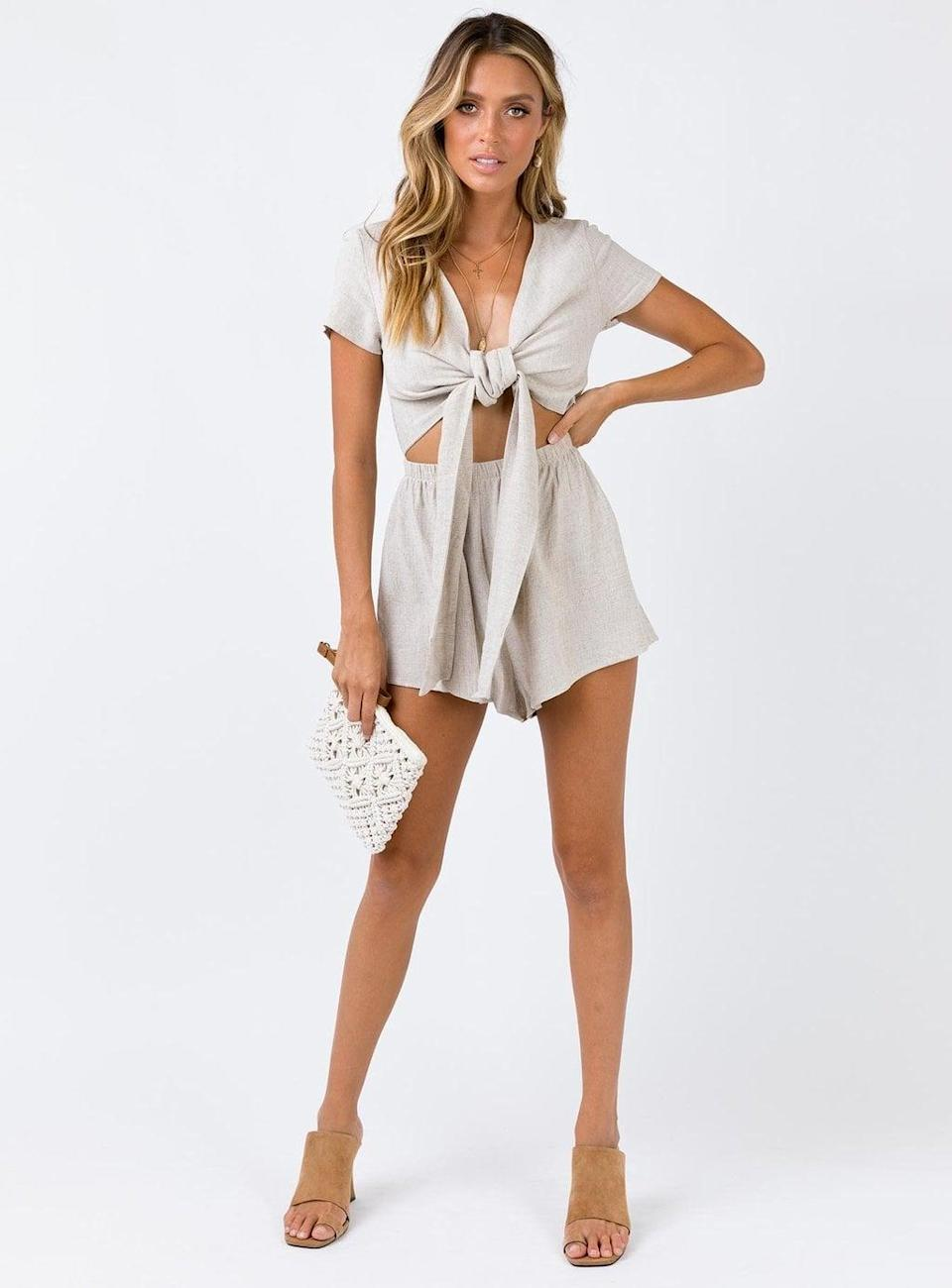 <p>Get all tied up in this <span>Princess Polly Ragnar Tie Front Romper</span> ($59).</p>