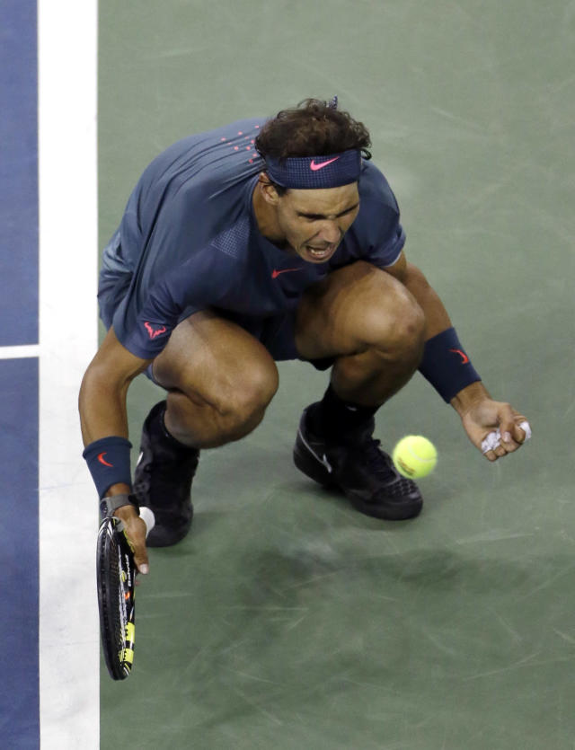 Rafael Nadal, of Spain, reacts after winning the third set against Novak Djokovic, of Serbia, during the men's singles final of the 2013 U.S. Open tennis tournament, Monday, Sept. 9, 2013, in New York. (AP Photo/Julio Cortez)