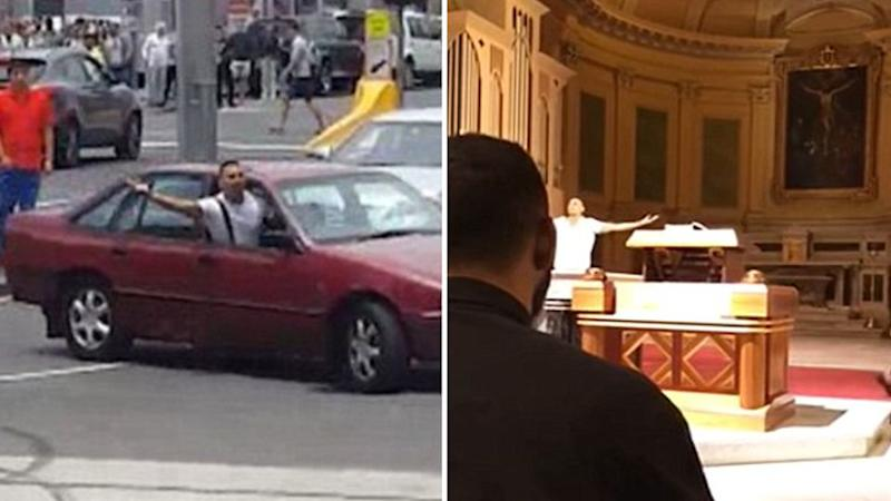 The video allegedly shows Dimitrious Gargasoulas ranting in the Melbourne church. Source: YouTube & Facebook
