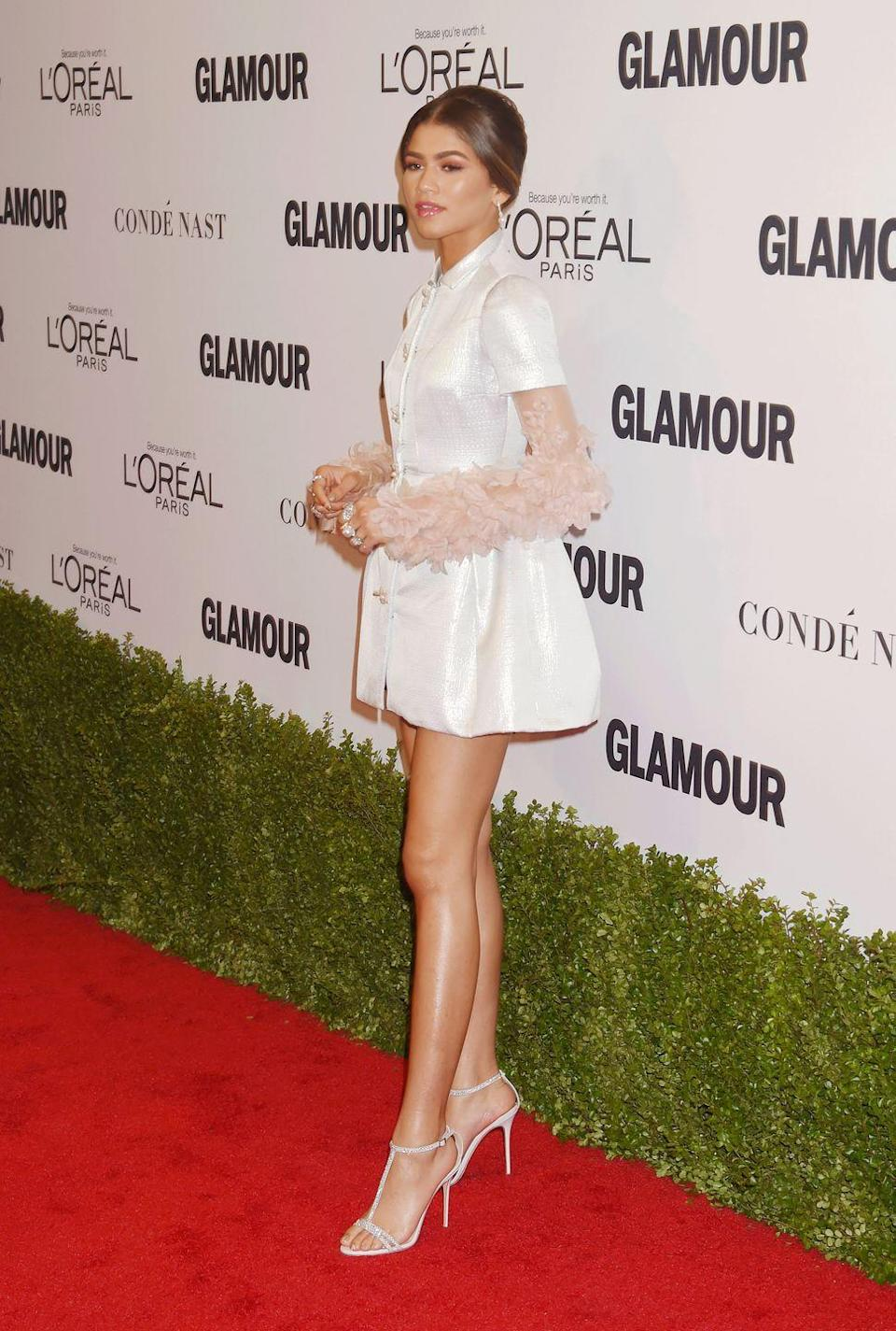 <p>For the 2016 <em>Glamour</em> Women of the Year Awards, she was all about textured statement sleeves with this glam Reem Acra dress.</p>