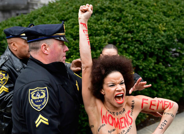 Nicolle Rochelle was arrested outside of the Montgomery County Courthouse in Norristown, Pa. (Photo: AP/Corey Perrine)