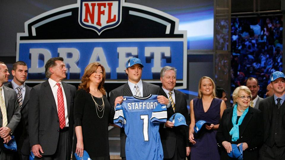 Mandatory Credit: Photo by Jason Decrow/AP/Shutterstock (6032838c)Matthew Stafford Georgia's Matthew Stafford, on stage with his family after being selected as the first overall pick by the Detroit Lions during the first round of the NFL football draft at Radio City Music Hall, in New YorkNFL Draft Football, New York, USA.