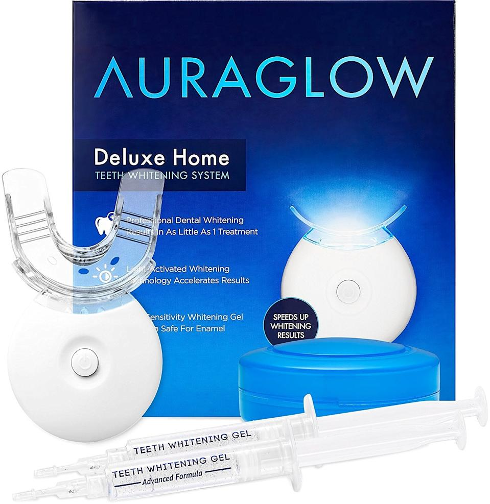 "<h3>AuraGlow Deluxe At-Home Teeth Whitening System</h3><br>With nearly 10,000 reviews on Amazon, this viral teeth-whitening kit is trusted by many. In addition to an LED accelerator light, the system comes with enough gel syringes for 20 treatments. <br><br><strong>AuraGlow</strong> Deluxe At-Home Teeth Whitening System, $, available at <a href=""https://amzn.to/2UpnWAr"" rel=""nofollow noopener"" target=""_blank"" data-ylk=""slk:Amazon"" class=""link rapid-noclick-resp"">Amazon</a>"