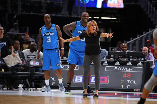 After the Power's season opener in the BIG3 league on Saturday, several players praised coach Nancy Lieberman — and even compared her to multiple NBA coaching legends. (Gregory Shamus/Getty Images)