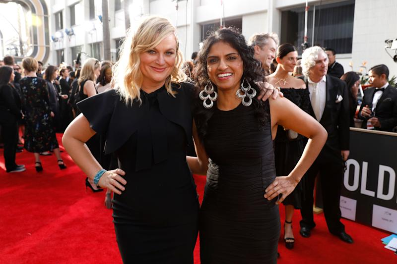 "Saru Jayaraman,&nbsp;who attended the Golden Globes as a guest of Amy Poehler, is an attorney who&rsquo;s best known for her work organizing low-wage restaurant workers and fighting for fair pay.&nbsp;<br /><br />Jayaraman,&nbsp;president of Restaurant Opportunities Centers United, made a name for herself supporting the surviving employees of &ldquo;Windows on the World,&rdquo; a restaurant that had been in the World Trade Center prior to the Sept. 11 attacks.&nbsp;When the restaurant&rsquo;s management company&nbsp;was hiring for&nbsp;its new establishment,&nbsp;most of the surviving restaurant workers who applied for positions were denied, according to&nbsp;<a href=""https://www.bloomberg.com/news/articles/2017-06-19/saru-jayaraman-the-alt-labor-leader-fighting-for-fair-pay-for-restaurant-workers"" target=""_blank"">Bloomberg</a>. The attorney coordinated protests, and the company consequently ended up doubling the number of former Windows on the World it hired.&nbsp;<br /><br />The&nbsp;<a href=""https://www.americanprogress.org/issues/democracy/news/2013/03/08/55846/the-top-13-women-of-color-to-watch-in-2013/"" target=""_blank"">Center for American Progress</a>&nbsp;named Jayaraman one of the &ldquo;Top Women of Color to Watch in 2013.&rdquo;"
