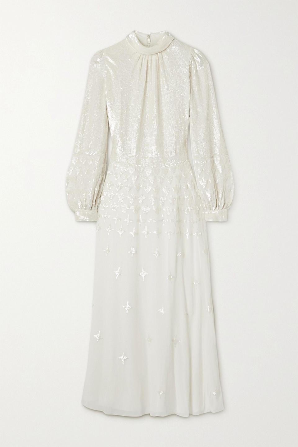 """<p><strong>Temperley London</strong></p><p>net-a-porter.com</p><p><strong>$2695.00</strong></p><p><a href=""""https://go.redirectingat.com?id=74968X1596630&url=https%3A%2F%2Fwww.net-a-porter.com%2Fen-us%2Fshop%2Fproduct%2Ftemperley-london%2Fmirella-sequin-embellished-crepe-de-chine-midi-dress%2F1231733&sref=https%3A%2F%2Fwww.harpersbazaar.com%2Fwedding%2Fbridal-fashion%2Fg7503%2Foff-the-rack-wedding-dresses%2F"""" rel=""""nofollow noopener"""" target=""""_blank"""" data-ylk=""""slk:SHOP NOW"""" class=""""link rapid-noclick-resp"""">SHOP NOW</a></p><p>All-over sequins aren't always for the after party; done in a draped mock neck and blouson sleeves, this style feels effortlessly elegant. Pair with equally glam accessories, or pair with a slide to dress this look down.</p>"""
