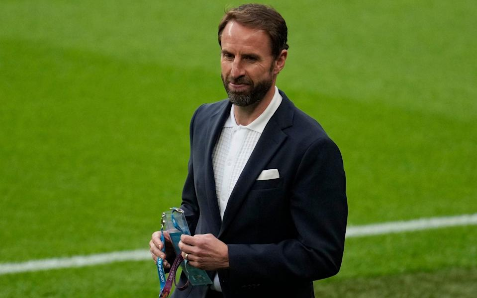 Gareth Southgate, Head Coach of England looks on prior to the UEFA Euro 2020 Championship Group D match between England and Scotland - Matt Dunham - Pool/Getty Images