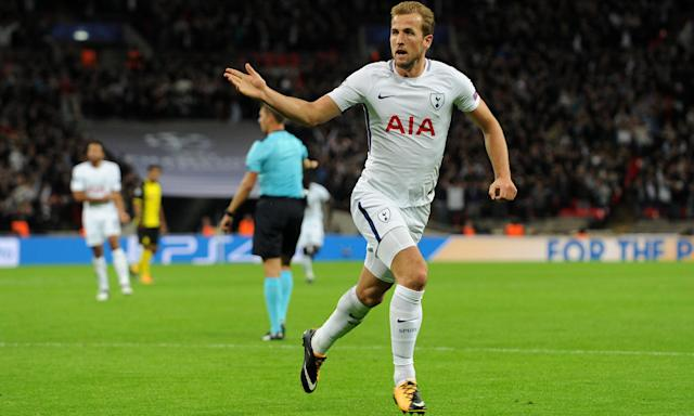 Harry Kane celebrates after scoring Tottenham Hotspur's third goal in the Champions League tie against Borussia Dortmund.