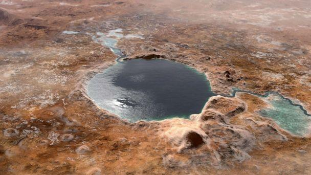 PHOTO: A NASA illustration shows Jezero Crater — the landing site of the Mars 2020 Perseverance rover — as it may have looked billions of years go on Mars, when it was a lake. (NASA)