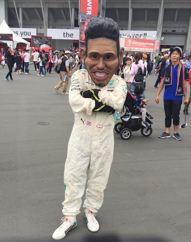 A fan dressed up at Lewis Hamilton