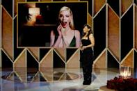 """Anya Taylor-Joy is seen on screen after winning a Golden Globe for her portrayal of a female chess prodigy in """"The Queen's Gambit"""""""