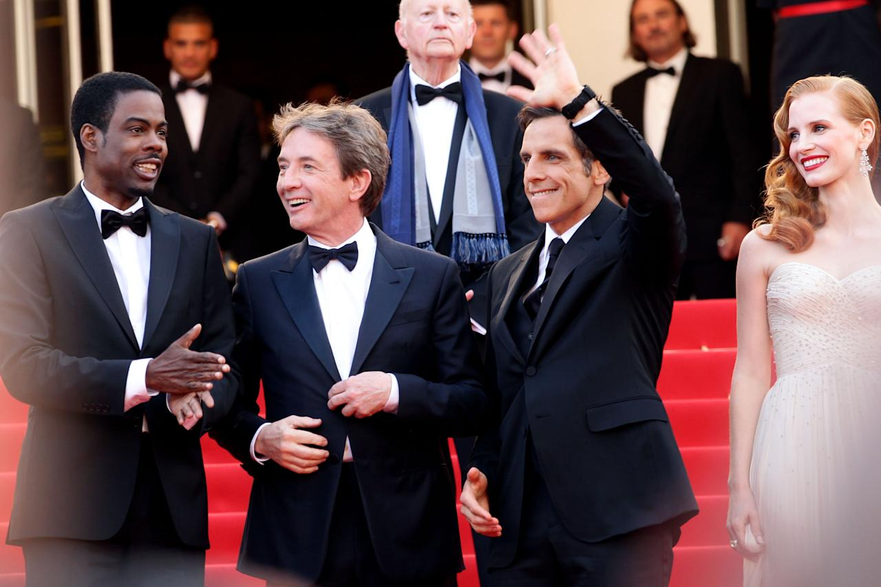 "CANNES, FRANCE - MAY 18:  (L-R) Chris Rock, Martin Short, Ben Stiller and Jessica Chastain attend the ""Madagascar 3: Europe's Most Wanted"" Premiere during the 65th Annual Cannes Film Festival at Palais des Festivals on May 18, 2012 in Cannes, France.  (Photo by Vittorio Zunino Celotto/Getty Images)"