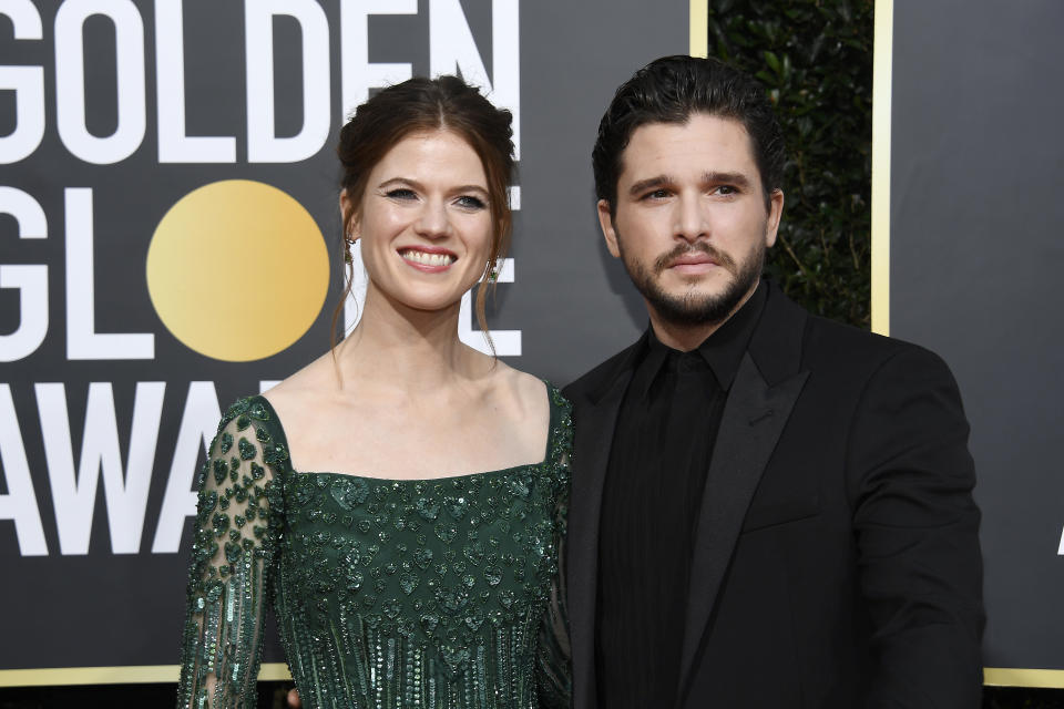 BEVERLY HILLS, CALIFORNIA - JANUARY 05: 77th ANNUAL GOLDEN GLOBE AWARDS -- Pictured: (l-r) Rose Leslie and Kit Harington arrive to the 77th Annual Golden Globe Awards held at the Beverly Hilton Hotel on January 5, 2020. -- (Photo by: Kevork Djansezian/NBC/NBCU Photo Bank via Getty Images)