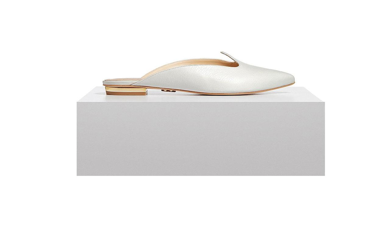 "<p>Zvelle Rayna Mules, $325, <a rel=""nofollow"" href=""https://www.zvelle.com/products/raynamules-white""> zvelle.com</a> </p>"