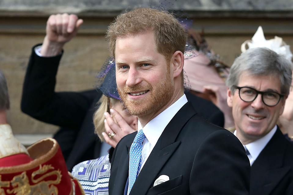 Britain's Prince Harry, Duke of Sussex reacts as he leaves St George's Chapel in Windsor Castle, Windsor, west of London, on May 18, 2019, after the wedding of Lady Gabriella Windsor and Thomas Kingston. - Lady Gabriella, is the daughter of Prince and Princess Michael of Kent. Prince Michael, is the Queen Elizabeth II's cousin. (Photo by Steve Parsons / POOL / AFP) / The erroneous mention[s] appearing in the metadata of this photo by Steve Parsons has been modified in AFP systems in the following manner: [-Britain's Prince Harry, Duke of Sussex] instead of [Britain's Princess Michael of Kent (L) and Britain's Prince Michael of Kent stan with Britain's Lady Frederick Windsor (2R) and Lord Frederick (Freddie) Windsor]. Please immediately remove the erroneous mention[s] from all your online services and delete it (them) from your servers. If you have been authorized by AFP to distribute it (them) to third parties, please ensure that the same actions are carried out by them. Failure to promptly comply with these instructions will entail liability on your part for any continued or post notification usage. Therefore we thank you very much for all your attention and prompt action. We are sorry for the inconvenience this notification may cause and remain at your disposal for any further information you may require. (Photo by STEVE PARSONS/POOL/AFP via Getty Images)