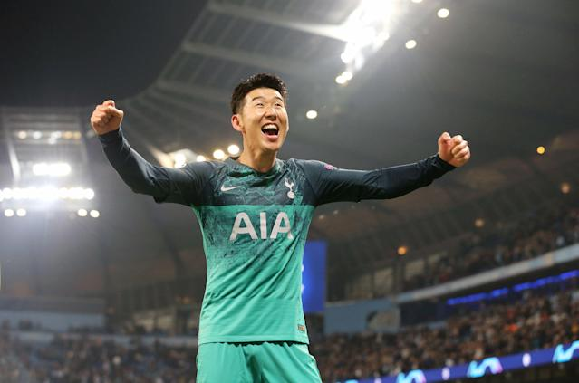 Son Heung-Min and Tottenham Hotspur are on to a Champions League semifinal showdown with upstart Ajax after a wild night in Manchester. (Getty)
