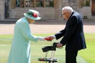 Fundraising UK veteran Captain Tom receives knighthood from Britain's Queen Elizabeth at Windsor Castle