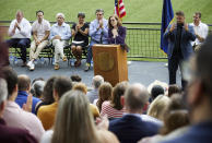 Oregon Governor Kate Brown thanks health care workers while announcing the end of the state's COVID-19 restrictions in Portland, Ore., Wednesday, June 30, 2021. (AP Photo/Craig Mitchelldyer)