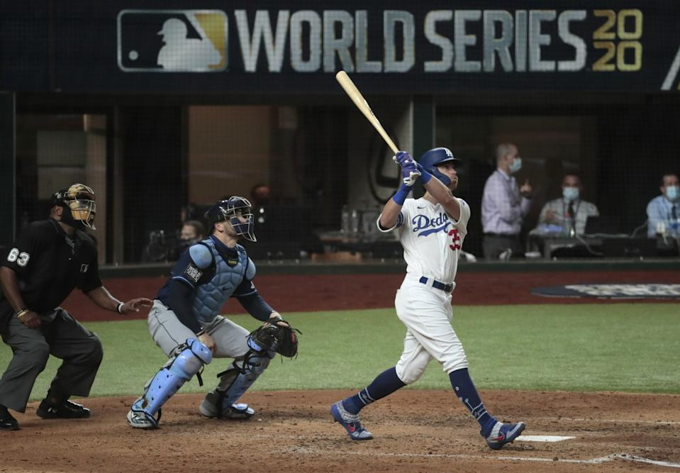 Cody Bellinger homers in the fourth inning.