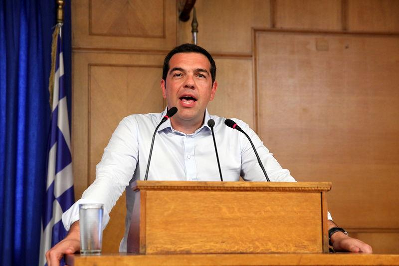 Greek Prime Minister Tsipras gives a speech at the Agriculture Ministry in central Athens