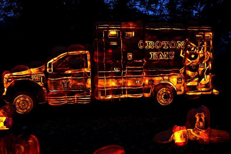 In this Hudson Valley village, the Headless Horseman's image appears on sculptures, signs and even ambulances, while fire trucks and street signs are orange and black