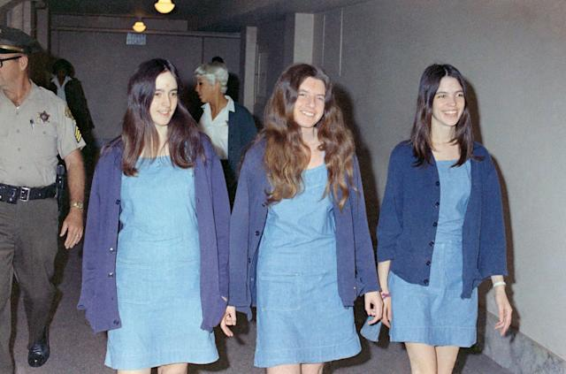 "<p>Charles Manson followers, from left: Susan Atkins, Patricia Krenwinkel and Leslie Van Houten, walk to court to appear for their roles in the 1969 cult killings of seven people, including pregnant actress Sharon Tate, in Los Angeles, Calif., on Aug. 20, 1970. California Gov. Jerry Brown is denying parole for Van Houten, the youngest follower of murderous cult leader Charles Manson. The Democratic governor said Friday, July 22, 2016, Van Houten's ""inability to explain her willing participation in such horrific violence"" led him to believe she remained an unreasonable risk to society. (Photo: George Brich/AP) </p>"