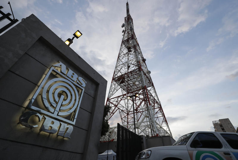 FILE PHOTO: A vehicle enters the property of the broadcast network ABS-CBN on Tuesday, May 5, 2020, in Manila, Philippines. (AP Photo/Aaron Favila)