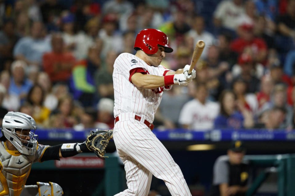Philadelphia Phillies' Adam Haseley hits an RBI single off Pittsburgh Pirates starting pitcher Steven Brault during the fourth inning of a baseball game Tuesday, Aug. 27, 2019, in Philadelphia. (AP Photo/Matt Slocum)