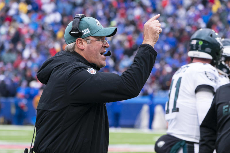 """Eagles Head Coach Doug Pederson will have to navigate a film crew documenting his team's every move for Amazon's series """"All or Nothing."""" (Photo by Gregory Fisher/Icon Sportswire via Getty Images)"""