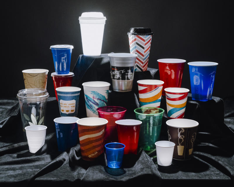Various Dart brand cups sit on a table in Chicago on Oct. 25, 2019. The Dart Container Corporation, which makes foam products, is a manufacturing behemoth and produced a fortune for the family behind it but environmentalists say its products are polluting the globe. (Lyndon French/The New York Times)