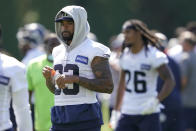 Seattle Seahawks strong safety Jamal Adams walks off the field after NFL football practice Wednesday, July 28, 2021, in Renton, Wash. (AP Photo/Ted S. Warren)