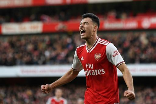 Gabriel Martinelli, 18, scored his ninth goal of the season for Arsenal