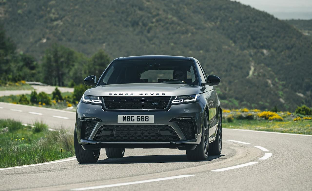 <p>Sharing most of its mechanicals with the Jaguar F-Pace SVR, the Range Rover Velar SV packs a supercharged 5.0-liter V-8 good for 550 horsepower and 502 lb-ft of torque.</p>